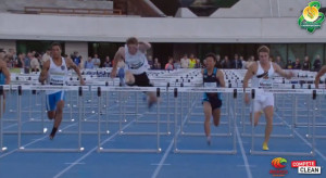 Attacking the last flight of hurdles at Australian Championships 2014.